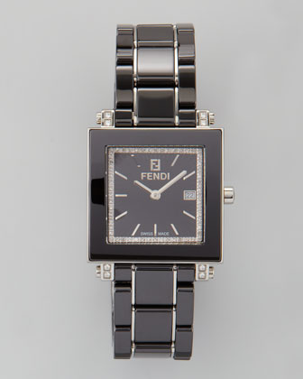 Ceramic Diamond Stainless Steel Square Watch, Black