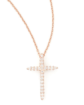18k Rose Gold Diamond Cross Necklace