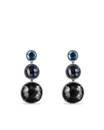 Chatelaine Triple-Drop Earrings with Hematine and Crystal