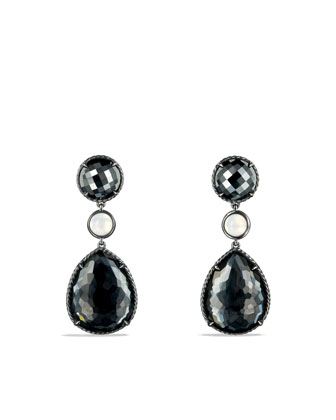 Grisaille Triple-Drop Earrings with Hematine and Crystal