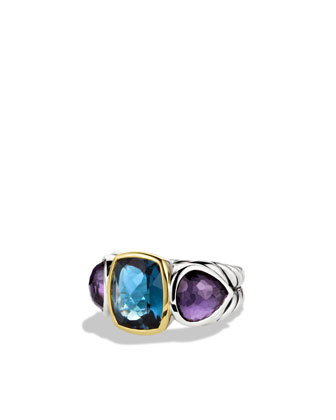 Ultramarine Three-Stone Ring with Hampton Blue Topaz, Black Orchid, and Gold