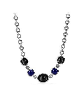 Ultramarine Necklace with Black Orchid and Lapis Lazuli