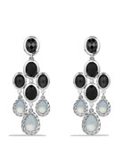 Color Classic Chandelier Earrings with Moon Quartz, Black Onyx and Diamonds