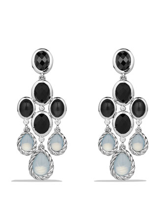 Grisaille Chandelier Earrings with Moon Quartz and Black Onyx