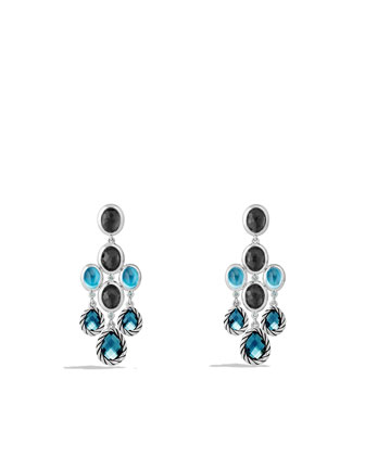 Ultramarine Chandelier Earrings with Blue Topaz and Black Orchid