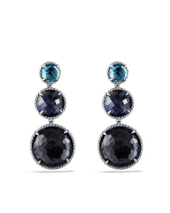 Ultramarine Triple-Drop Earrings with Black Orchid and Indian Blue Sapphire