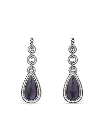 Anjou Drop Earrings with Black Orchid and Diamonds