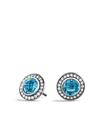 Cerise Mini Earrings with Blue Topaz and Diamonds