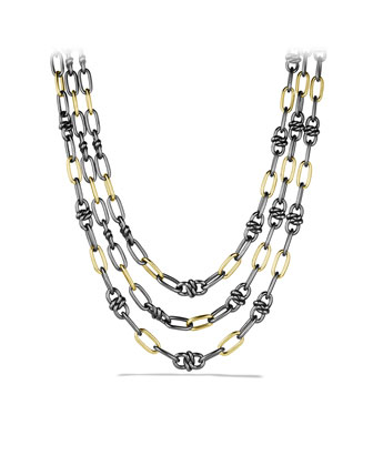 Black & Gold Three-Row Link Necklace with Gold