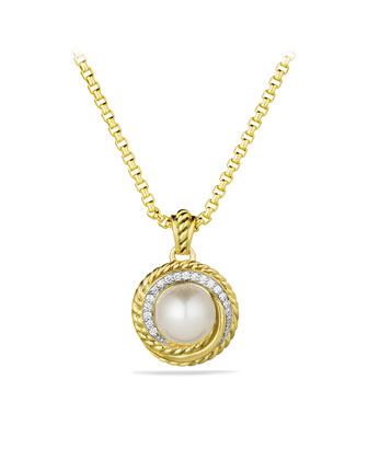 Pearl Crossover Pendant with Diamonds in Gold