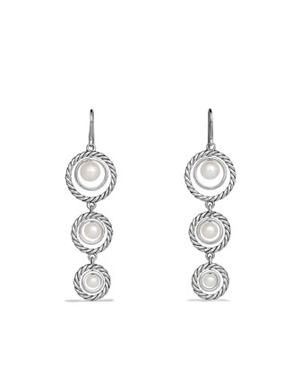 Cable Pearl Triple-Drop Earrings