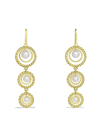 Cable Pearl Triple-Drop Earrings in Gold