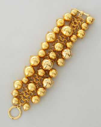 Golden Beaded Cluster Toggle Bracelet