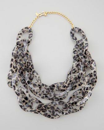 Double-Strand Leopard-Print Enamel Necklace, Gray