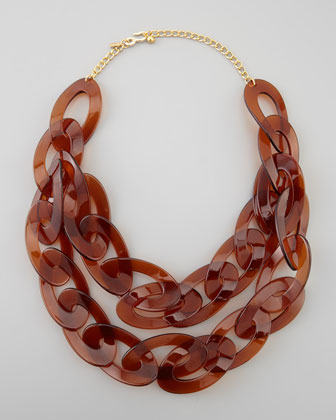 Double-Strand Enamel Link Necklace, Tortoise