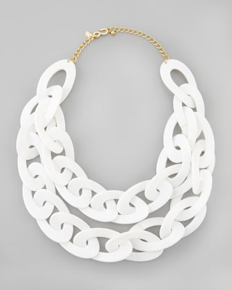 Double-Strand Enamel Link Necklace, White