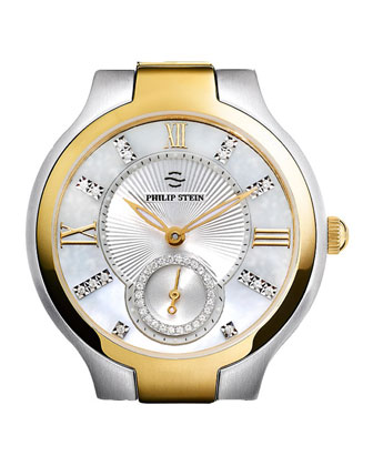 Small Two-Tone Mother-of-Pearl Diamond Watch Head & Golden Ostrich Strap