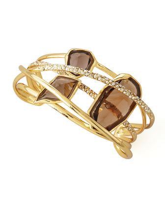 Five-Ringed Smoky Quartz Cuff Bracelet
