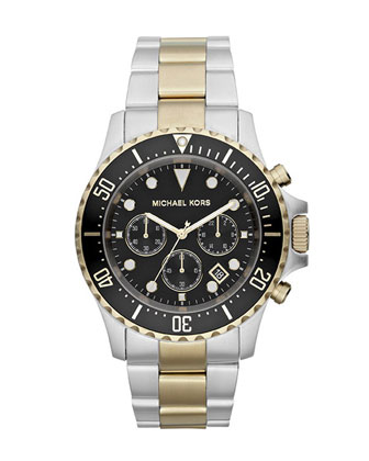 Oversized Two-Tone Stainless Steel Everest Chronograph Watch