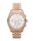 Oversize Rose Golden Stainless Steel Lexington Three-Hand Watch