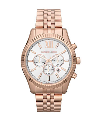 Oversize Rose Golden Stainless Steel Lexington Three-Hand Watch