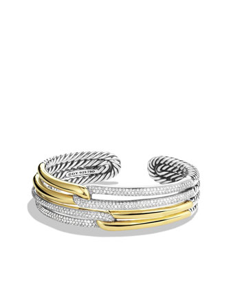 Labyrinth Double-Loop Cuff with Diamonds and Gold