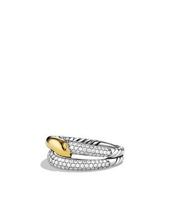 Labyrinth Single-Loop Ring with Diamonds and Gold