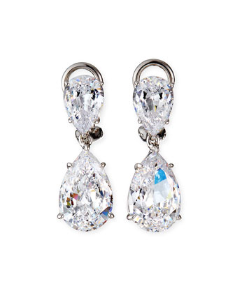 Two-Pear-Drop Cubic Zirconia Earrings