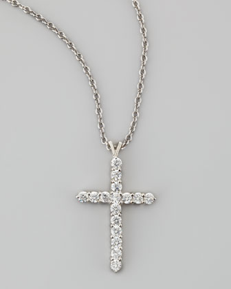 Large Cubic Zirconia Cross Pendant Necklace