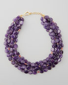 Amethyst Beaded Disc Necklace