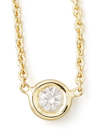 18k Yellow Gold Single Diamond Necklace