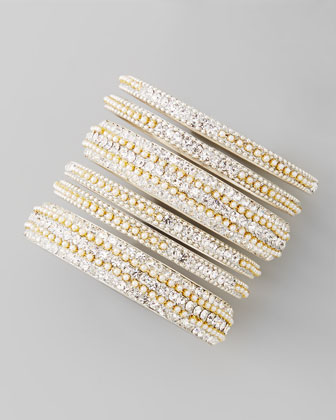 Set of 6 Pearly Crystal Bangles