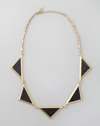 Snake-Embossed Station Collar Necklace