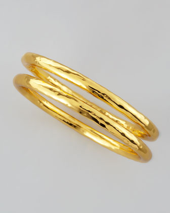 22k Gold Plate Hammered Bangle