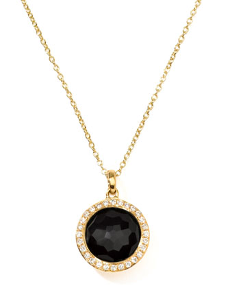 Rock Candy 18k Gold Mini Lollipop Necklace in Onyx & Diamond