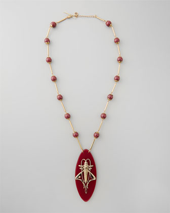 Camille Grasshopper Resin Pendant Necklace, Red