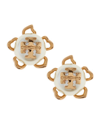 Golden/White Emma Pearlescent Stud Earrings