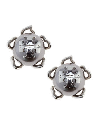 Silvertone/Gray Emma Pearlescent Stud Earrings