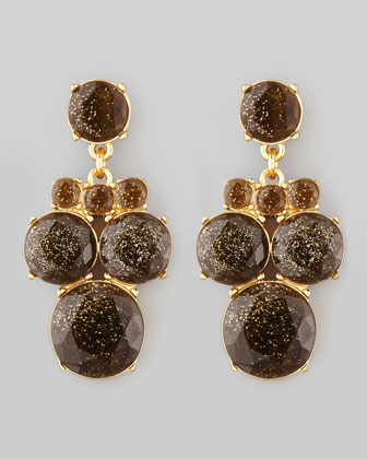 glitter chandelier earrings, smoke/gold