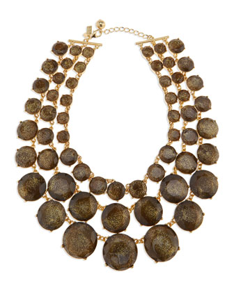 triple-strand glitter facet necklace