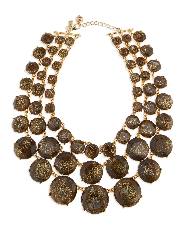 triple strand glitter facet necklace   kate spade new york   Gold