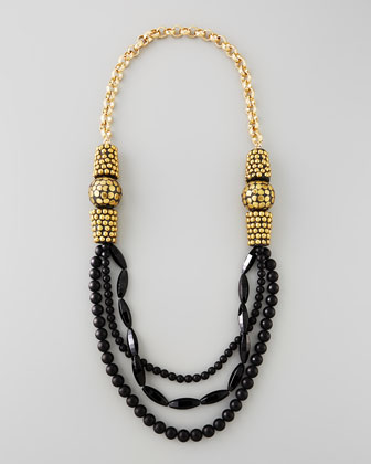 Black Onyx Multi-Strand Necklace, 40