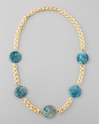 Feldspar Coin Necklace, Blue