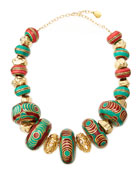 Turquoise & Coral Beaded Nugget Necklace