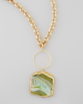 Hammered Agate Pendant Necklace, 33