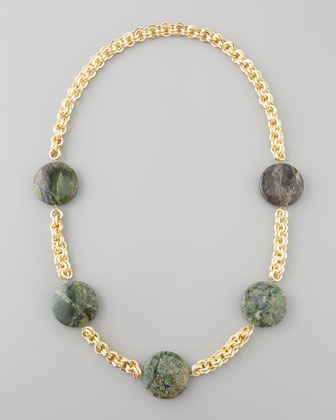 Turpan Jade Coin Necklace, Green