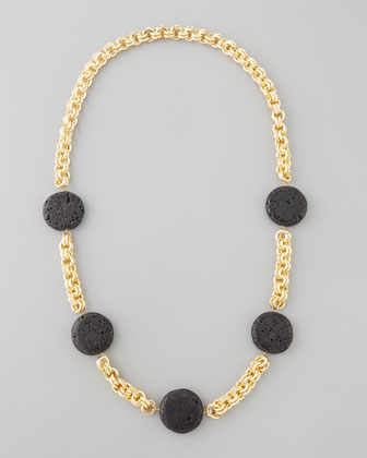 Lava Coin Necklace, Black