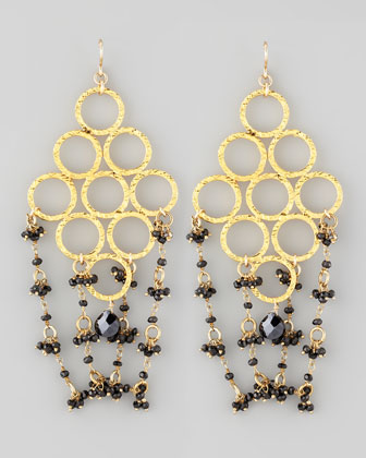 Beaded Golden Chandelier Earrings