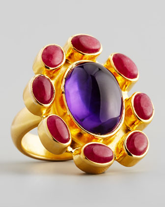 Ruby Corundum & Amethyst Ring