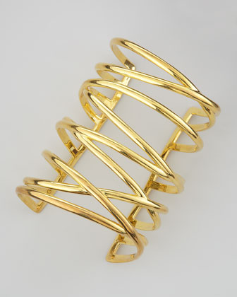 Gold-Plated Crisscross Cuff